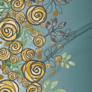 Fabric & Wallpaper: Large Floral Rose Border in Yellow, Blue