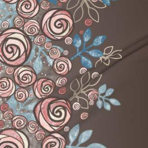 Large border fabric of roses in brown, peach, blue