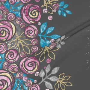Large border fabric of roses in pink, blue, gray
