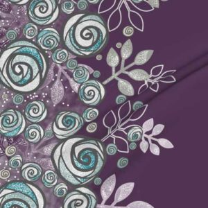 Large border fabric of roses in purple, gray, aqua
