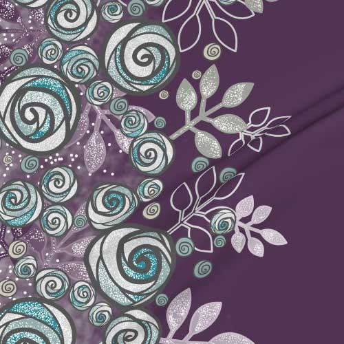 Large border fabric of roses in purple, gray, aqua