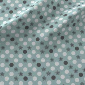 Polka dot print on fabric in aqua, gray