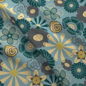 Flower print on fabric in yellow, blue, gray