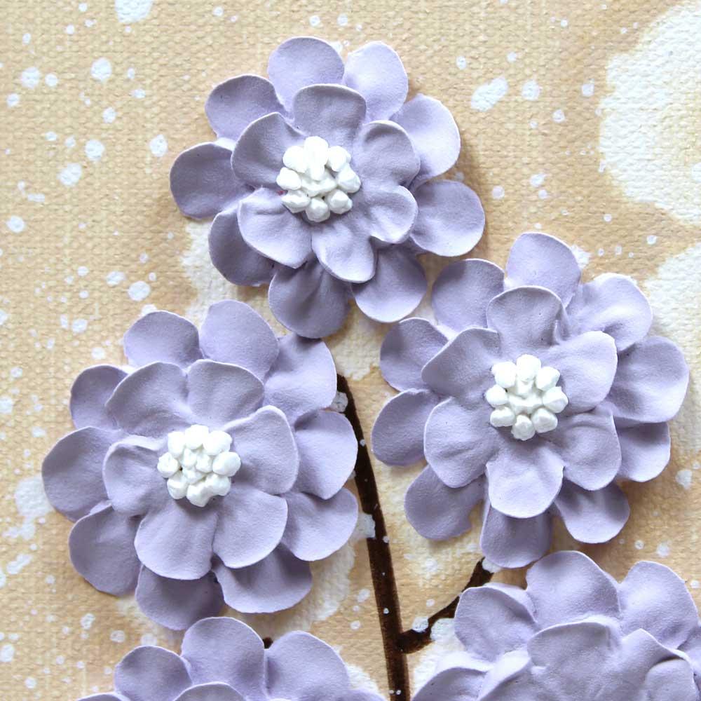 Close up of nursery art khaki and lavender wildflower