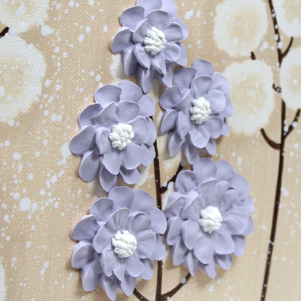 Details of nursery art khaki and lavender wildflower