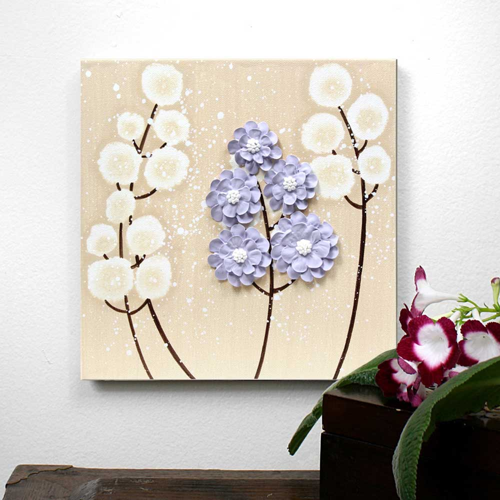Setting view of nursery art khaki and lavender wildflower