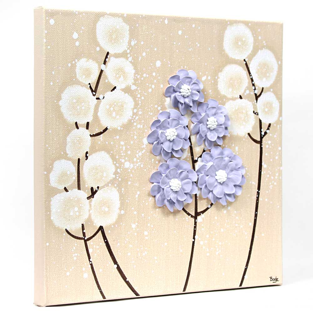Side view of nursery art khaki and lavender wildflower