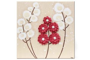 Wall art khaki and red wildflower