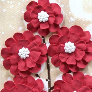 Flower Wall Art Canvas Painting in Red, Khaki – Small