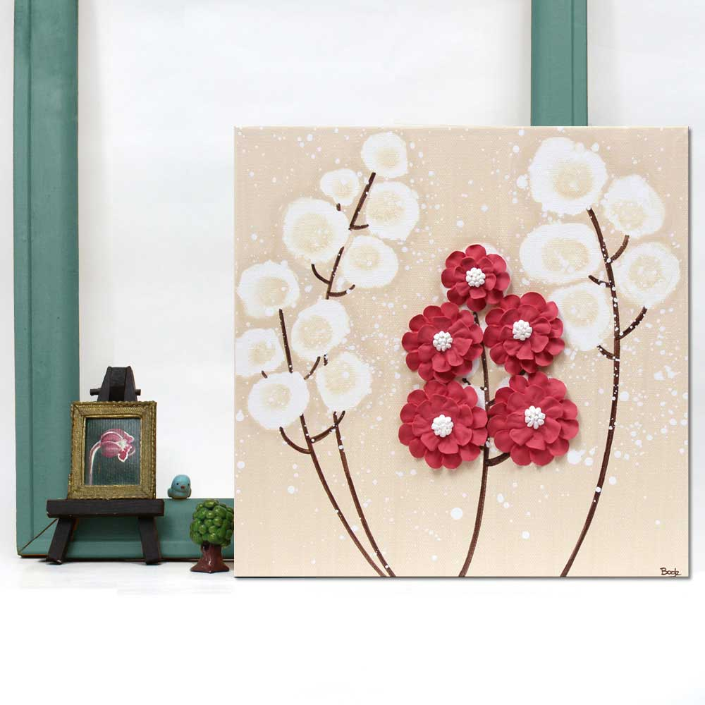 Setting of wall art khaki and red wildflower