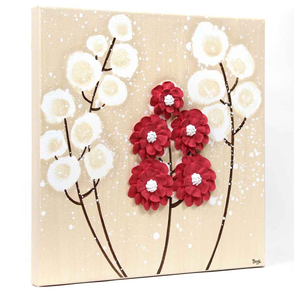 Side view of wall art khaki and red wildflower