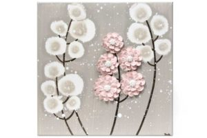 Nursery art warm gray and pink wildflower