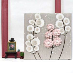 Setting view of nursery art warm gray and pink wildflower