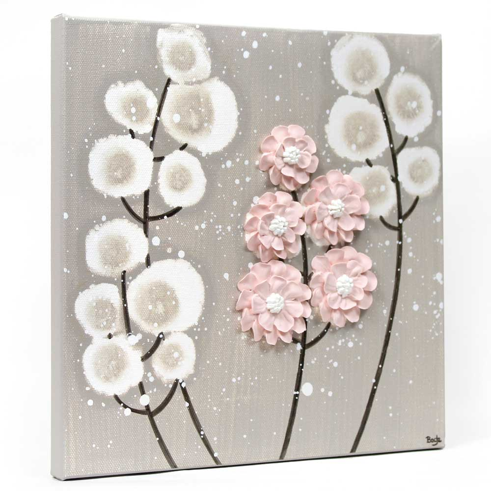Side view of nursery art warm gray and pink wildflower