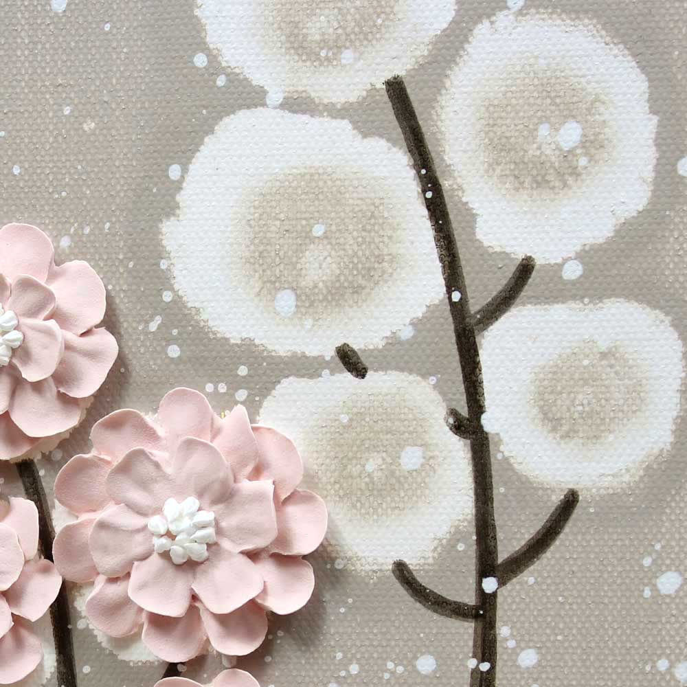 Close up of nursery art warm gray and pink wildflower