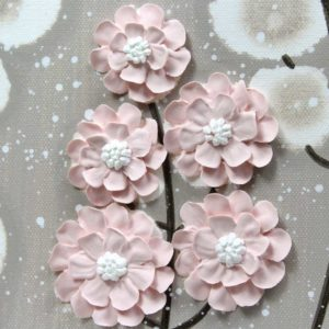 Canvas Art Flower Painting in French Gray, Pink – Small