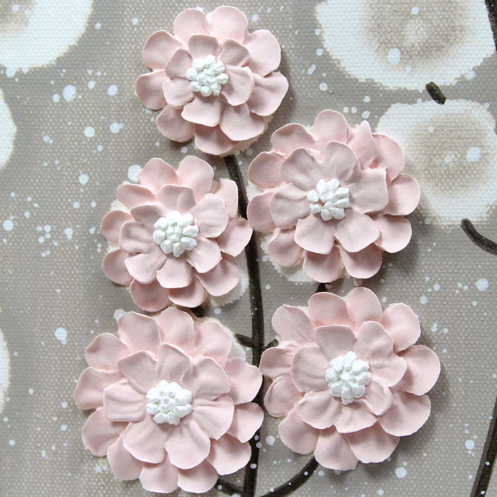 Flowers on nursery art warm gray and pink wildflower