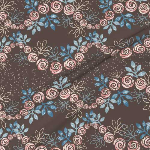 Rose floral garland print on fabric in brown, peach, blue