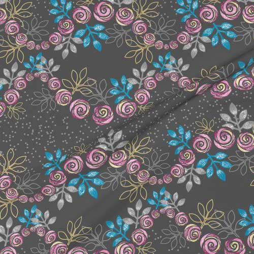 Rose floral garland print on fabric in gray, pink, blue