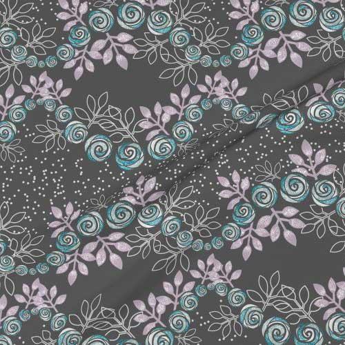 Rose floral garland print on fabric in gray, purple, aqua
