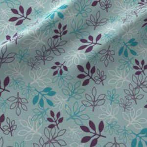 Rose leaves print on fabric in purple, aqua