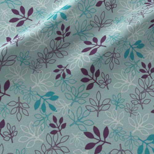 Rose leaves print on fabric in purple, aqua