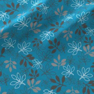 Rose leaves print on fabric in blue, gray
