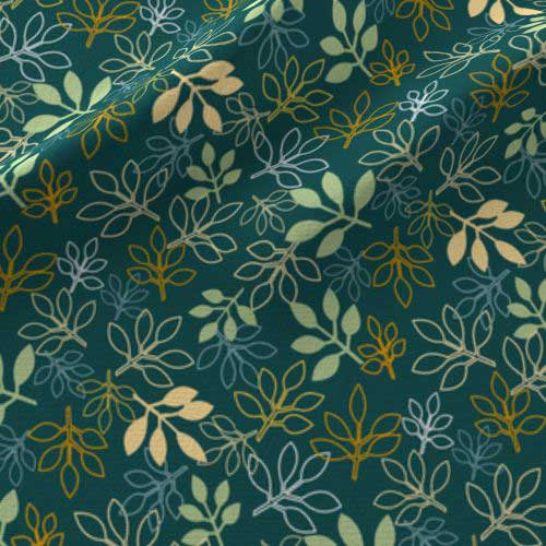Rose leaves print on fabric in blue, green, yellow