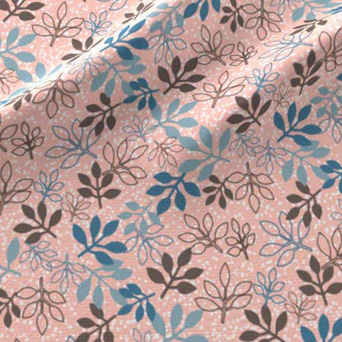 Rose leaves print on fabric in peach, brown, blue