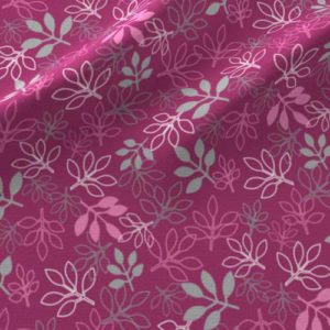 Rose leaves print on fabric in pink, gray