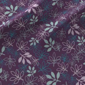 Rose leaves print on fabric in purple