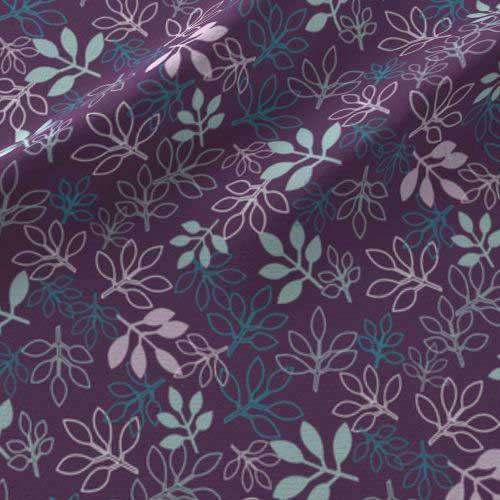 Rose leaves print on fabric in purple