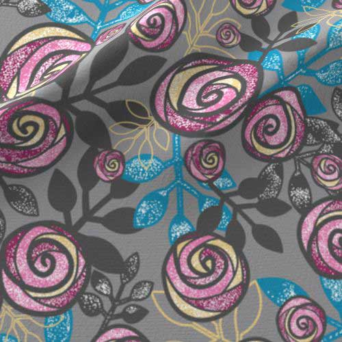 Roses and leaves fabric in blue, pink, gray