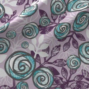 Roses and leaves fabric in purple, aqua, gray