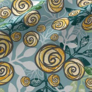 Roses and leaves fabric in blue, green, yellow