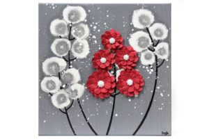 Wall art feather gray and red wildflower