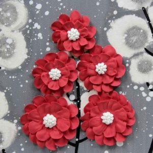 Wall Art Canvas Flower Painting in Gray, Red – Small