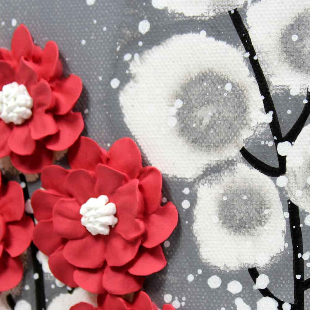 Details of wall art feather gray and red wildflower