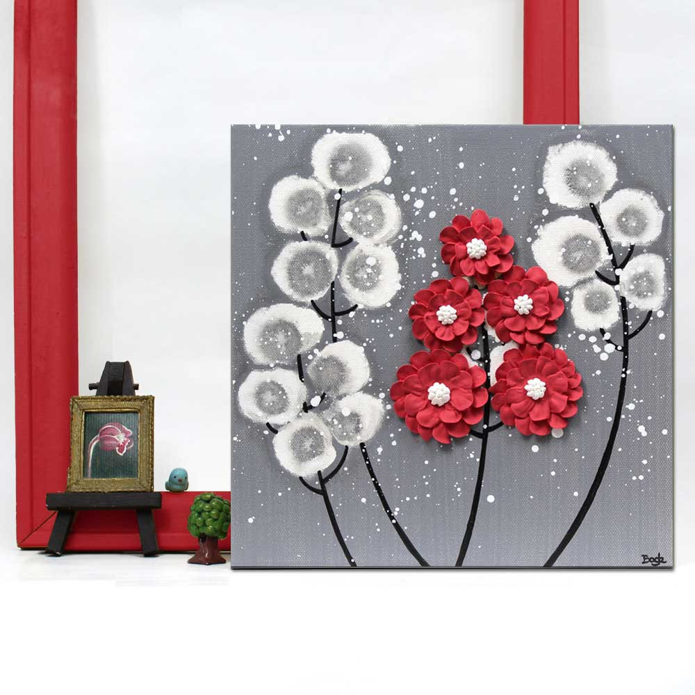 Setting view of wall art feather gray and red wildflower