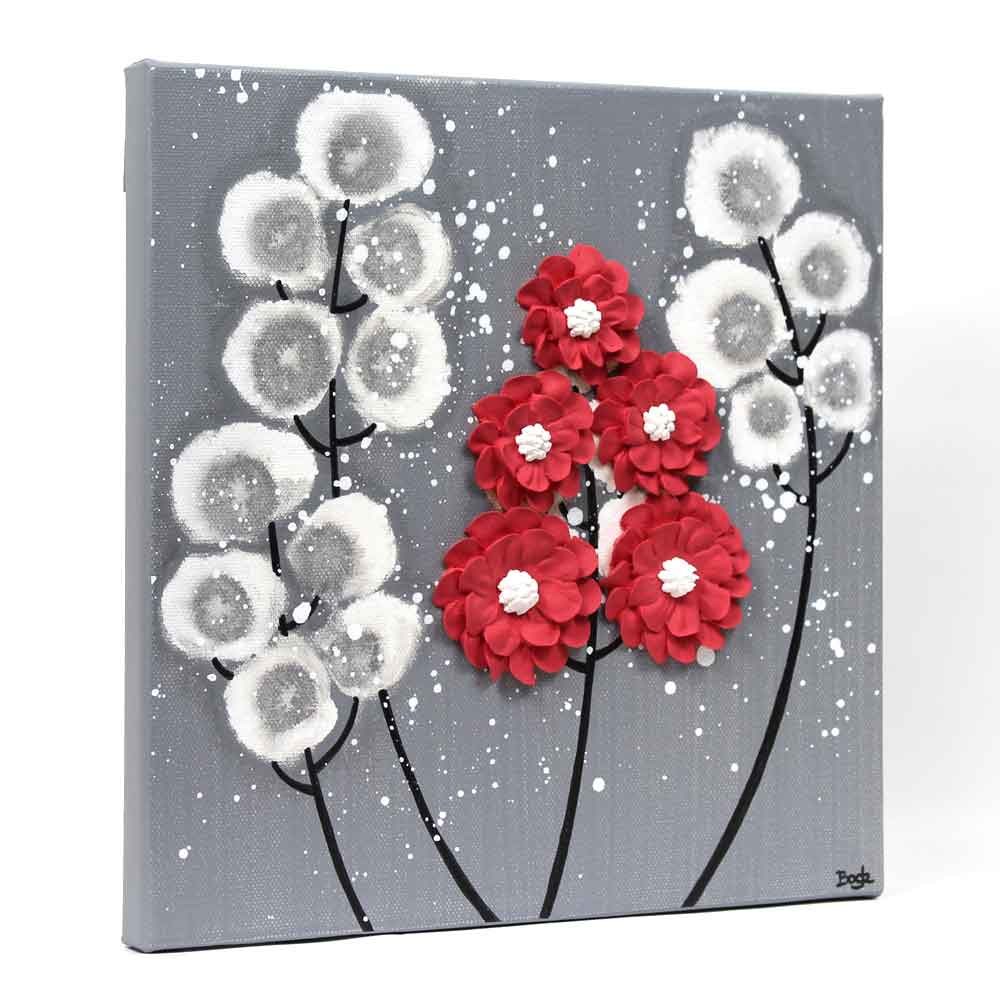 Side view of wall art feather gray and red wildflower