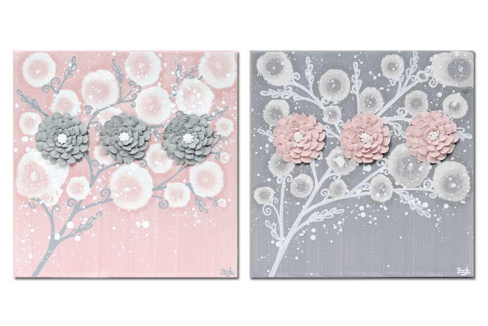Nursery art pink and gray zinnias