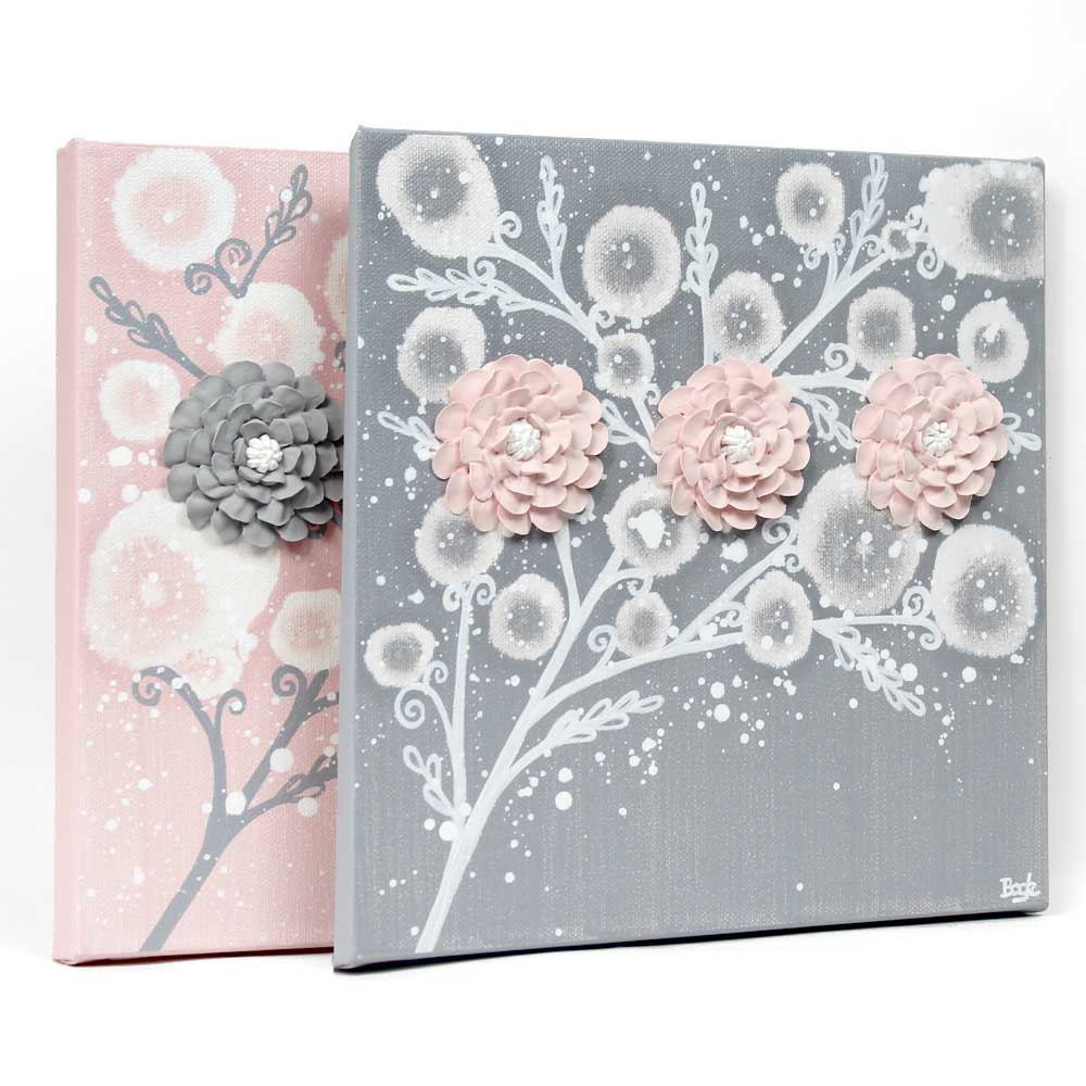 Side view of nursery art pink and gray zinnias