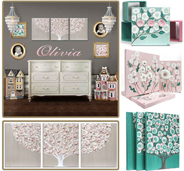 Nursery Color Ideas Teal, French gray, and Pink