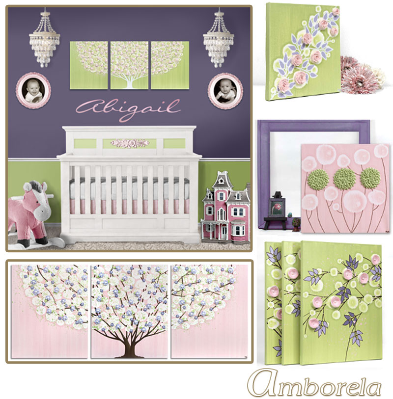 Collection of green, pink, and purple nursery art