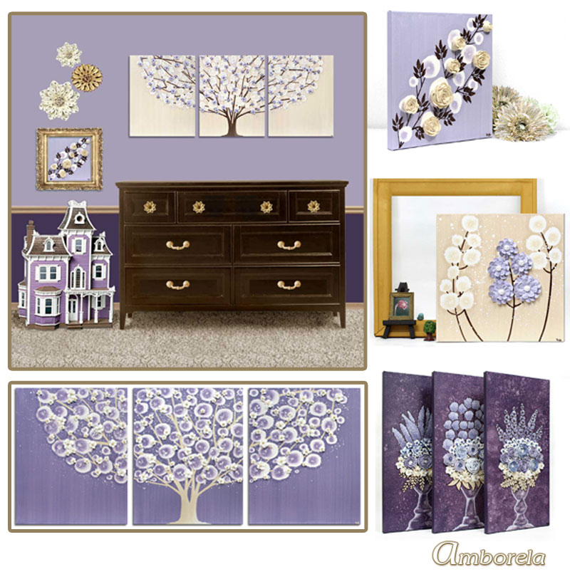 Collection of purple and brown nursery art