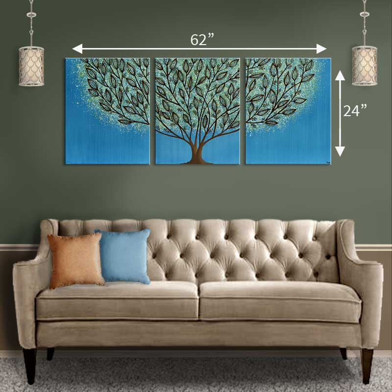 Extra large size guide for blue lake tree painting