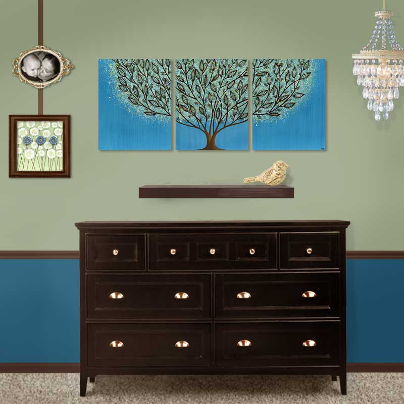 Setting for wall art leaf tree in blue and green