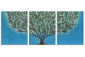 Wall art leaf tree in blue and green