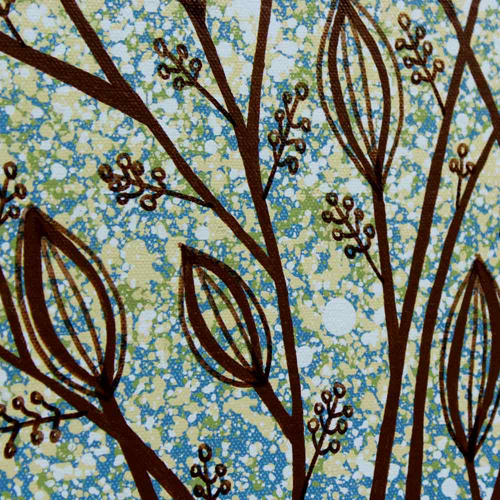 Details of wall art leaf tree in blue and green