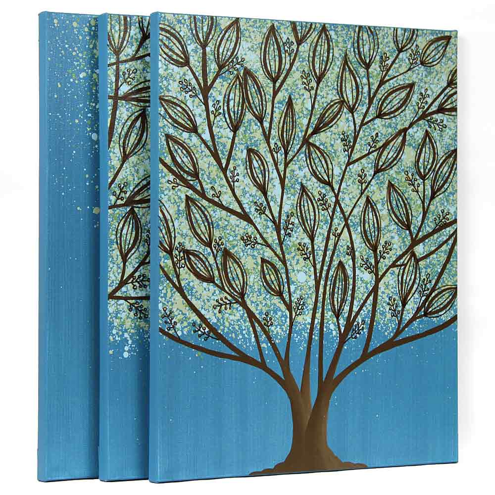 Side view for wall art leaf tree in blue and green